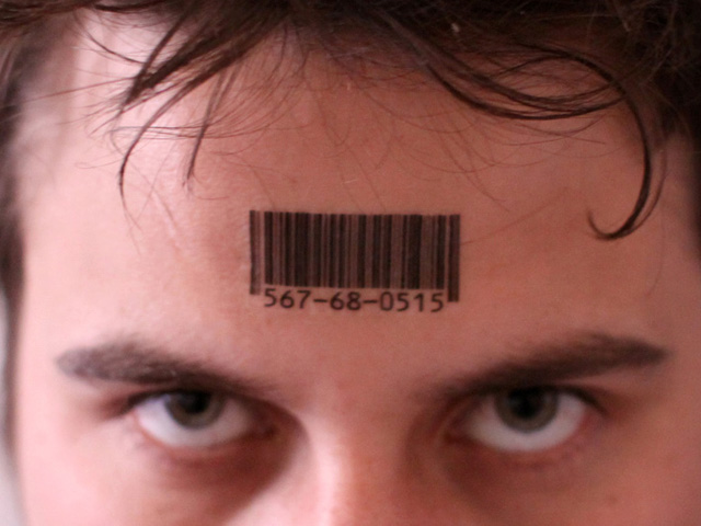 barcode tattood on forehead